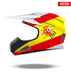 Spain flag on motorcycle helmets vector