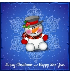 Cute snowman on background of snowflakes vector image