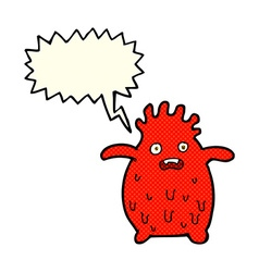 Cartoon funny slime monster with speech bubble vector