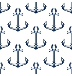 Seamless marine pattern with blue ship anchors vector
