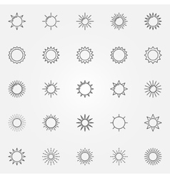 Sun line icons set vector