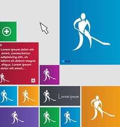 Winter sport hockey icon sign buttons modern vector