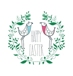 Colorful happy easter greeting card with floral vector