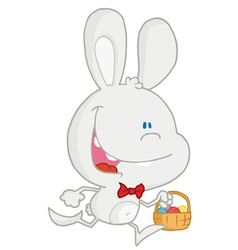 Happy white rabbit running with easter eggs vector