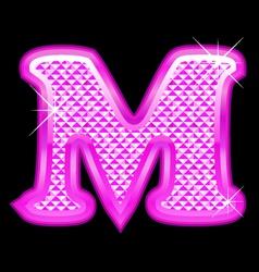 M letter pink bling girly vector image