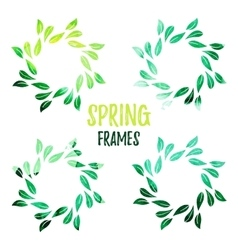 Elegant green watercolour contour floral frame vector