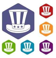 American hat icons set vector image