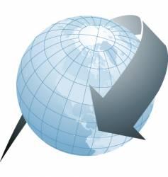 arrow globe blue vector image
