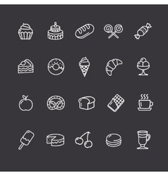 Bakery and pastry outline icons set vector