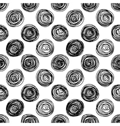 Black and white doodle circles seamless pattern vector image vector image