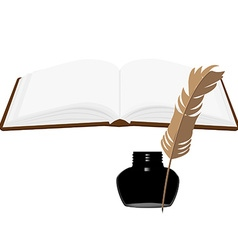 Book and inkwell vector