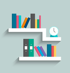 Bookshelf with colorful books and clock on blue vector