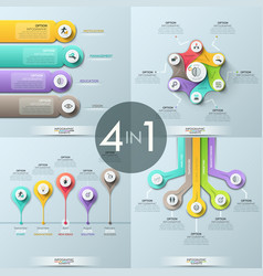 Bundle of 4 infographic design templates vector