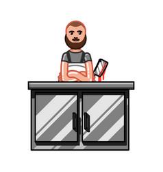 butcher in work vector image