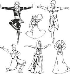 caucasusian dancers vector image vector image