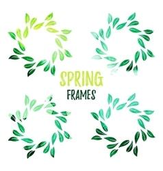 Elegant green watercolour contour floral frame vector