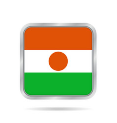 flag of niger shiny metallic gray square button vector image vector image