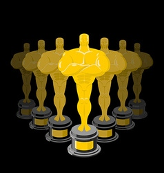 Golden statuette on black background dream vector
