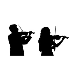 Male and female violinist vector image vector image