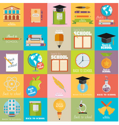 modern school flat design flyers templates vector image