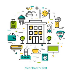nice place for rest - line concept vector image