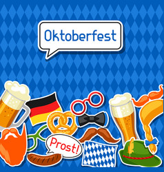 Oktoberfest card with photo booth stickers design vector