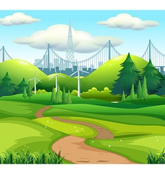 Scene with city and park vector