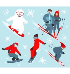 Skier and snowboarder winter sport collection vector