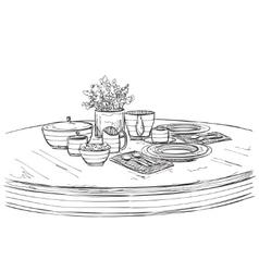 Table setting set weekend breakfast or dinner vector