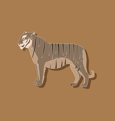 Tiger paper sticker on stylish background vector