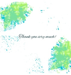 Watercolor blue-green background with thankful vector