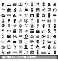 100 smart house icons set in simple style vector