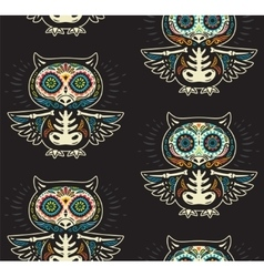 Sugar skull owls pattern mexican day of the dead vector