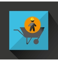 head silhouette wheelbarrow icon vector image