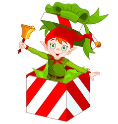 Elf popping out of a christmas box vector