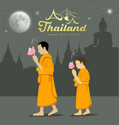 Thai monks and novice in buddhist light waving rit vector