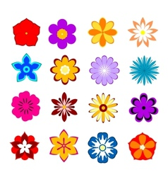 Set of flower blossoms and petals vector