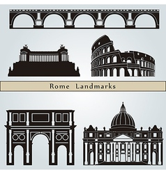 Rome landmarks and monuments vector