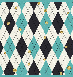 Seamless blue argyle pattern with chaotic golden vector