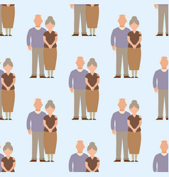People happy senior love couple seamless pattern vector