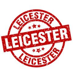 Leicester red round grunge stamp vector