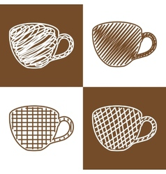 Set of hand drawn cups vector