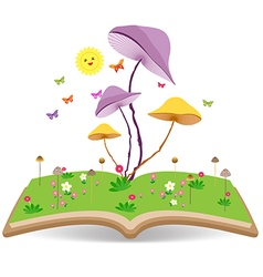 Mushroom gardens and lawns on the book vector