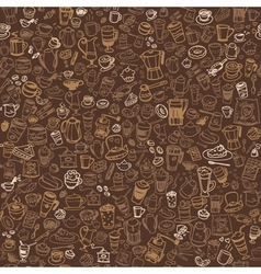 Doodle coffee and tea seamless background vector