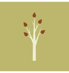 Flat with shadow icon and mobile application tree vector