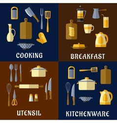 Cooking utensil and kitchenware flat icons vector