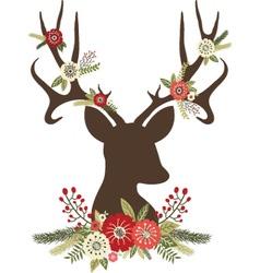 Christmas Deer Antlers with Flowers vector image