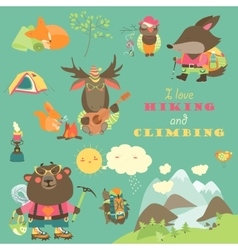 Set of cartoon characters and mountaineering vector