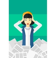 Woman in stack of newspapers vector