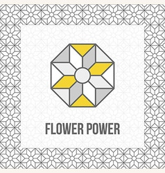 Geometric flower icon grey and yellow black line vector